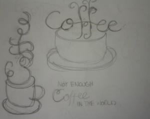 KM Ink Coffee Hand Lettering Sketch